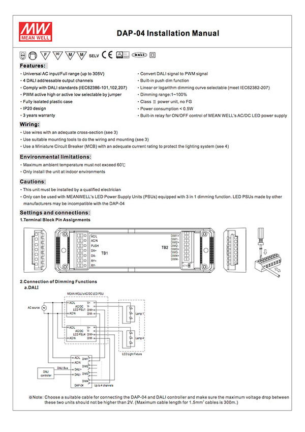 DAP-04 DALI to PWM Converter Installation Manual
